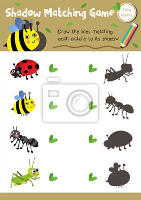 Schatten matching spiel von insekt bug tiere für vorschule kinder ...
