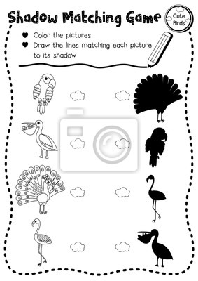Schatten matching spiel von niedlichen vogel tiere für vorschule ...