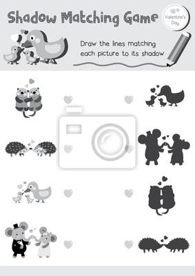 Schatten matching spiel von tieren für vorschulkinder aktivität ...