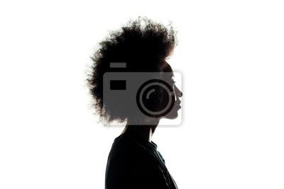 Fototapete Schattenbild der Afroamerikanerfrau mit Afrofrisur lokalisiert auf Weiß