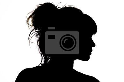 Fototapete Schattenbild des schönen Profils der Frauengesichts-Konzeptschönheit und -mode