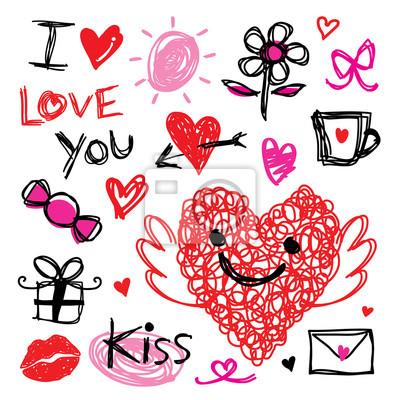 Schatz Ich Liebe Dich Valentinsgruss Herz Niedliches Cartoon Vektor