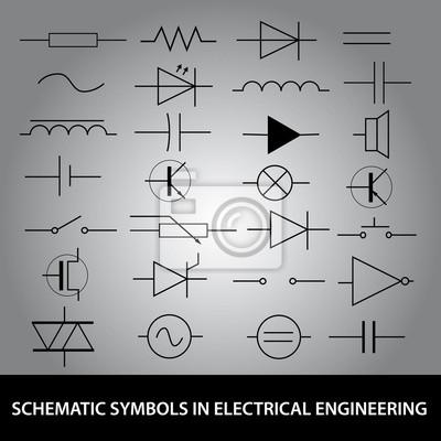 Schematische symbole in der elektrotechnik icon set eps10 fototapete ...