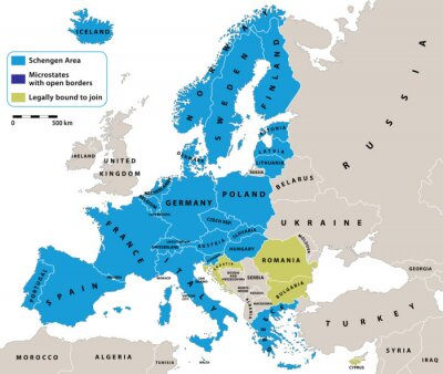 Fototapete Schengen Area on Europe political map. All data are in layers for easy editing vector map. Background for your infographics.