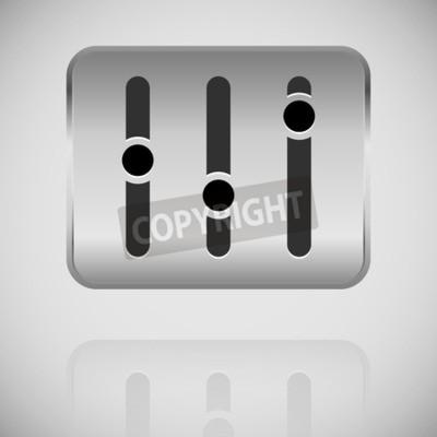 Schieberegler, fader, potentiometer-symbol auf metallplatte ...