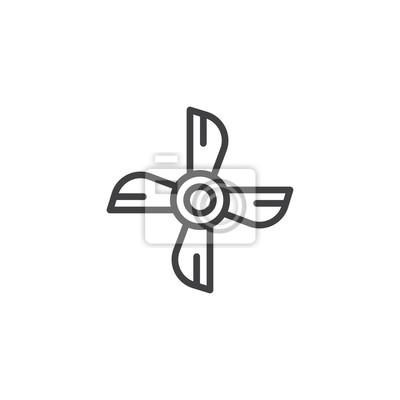 Schiff motor propeller umriss symbol. lineare stil zeichen für ...