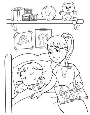 Fototapete Schlafendes Baby mit Mutter