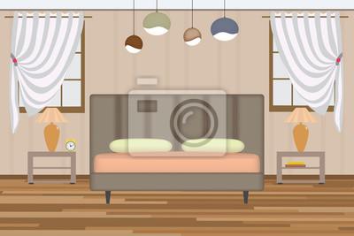 Fototapete Schlafzimmer Abbildung. Elevation Zimmer Mit Bett, Beistelltisch,  Lampe, Fenster Und