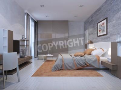 Schlafzimmer art deco stil in grauen farben mit orange akzente ...
