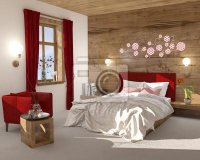 Schlafzimmer boxspringbett doppelbett fototapete • fototapeten ...
