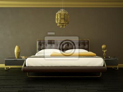 Schlafzimmer braun gold fototapete • fototapeten bequem, Hotelzimmer ...