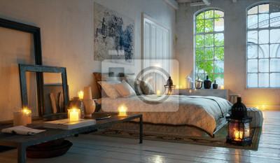 Schlafzimmer im alten loft wohnung im stadtzentrum - bett in ...