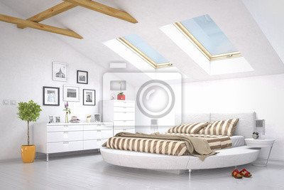 Schlafzimmer im dachgeschoss fototapete • fototapeten appartment ...