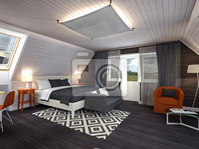 Fototapete Schlafzimmer Im Dachgeschoss Schwarz Weiß Rot 3d Rendering