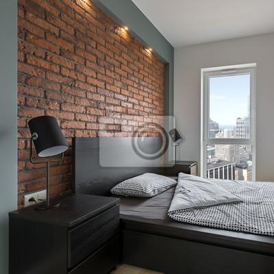 Schlafzimmer im industriellen stil mit bett fototapete • fototapeten ...