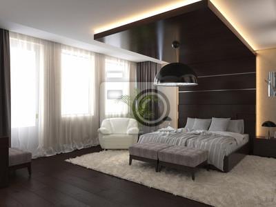 Schlafzimmer in einem privaten haus in braun und beige ...