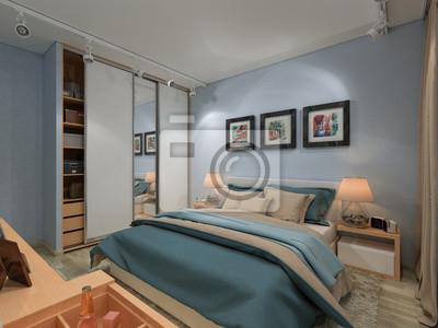 Fototapete Schlafzimmer In Einem Privathaus In Blau Und Beige Farben