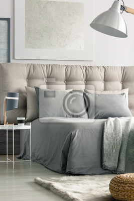 Schlafzimmer in grauen farben fototapete • fototapeten appartment ...