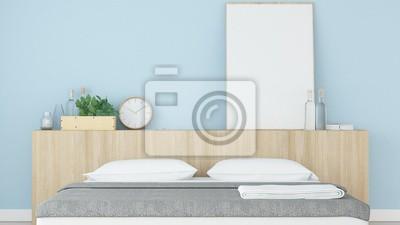 Schlafzimmer-innenraum japanische minimale art -3d wiedergabe ...
