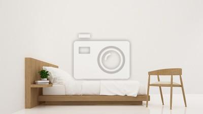 Fototapete Schlafzimmer Innenraum Möbel 3D Rendering Und Hintergrund Weiße  Dekoration   Minimalistischer Stil
