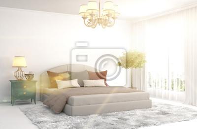 Schlafzimmer interieur. 3d darstellung fototapete • fototapeten ...