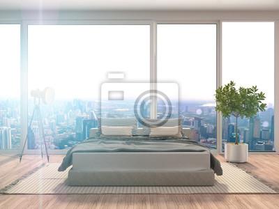 Fototapete: Schlafzimmer interieur. 3d darstellung