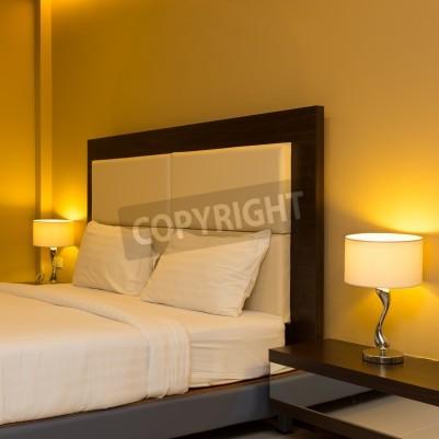 Fototapete Schlafzimmer Interieur Mit Bett Und Lampe Dekoration