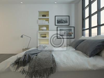 Schlafzimmer interieur mit kingsize-bett gegen riesige fenster ...