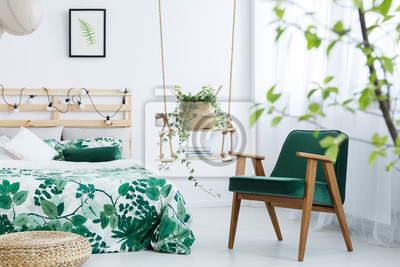 Fototapete: Schlafzimmer mit grünem sessel