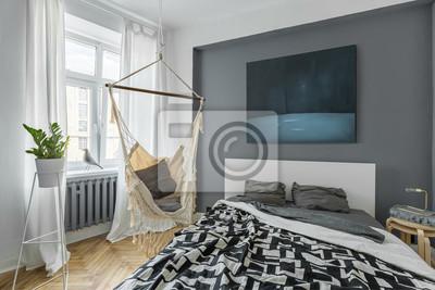 Schlafzimmer mit hängematte fototapete • fototapeten Bettdecke ...