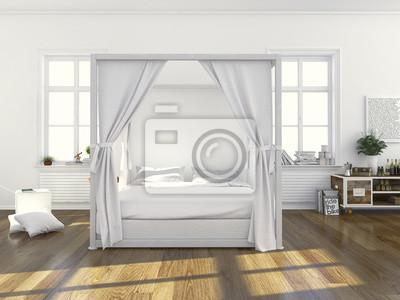 Schlafzimmer mit himmelbett fototapete • fototapeten Neubau ...
