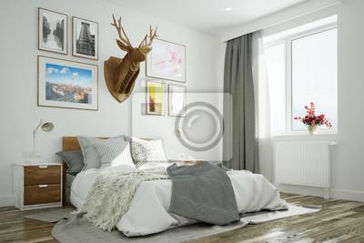 Schlafzimmer Mit Hirsch Und Wand Uber Bett Fototapete Fototapeten