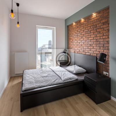 Schlafzimmer mit rot, backsteinmauer fototapete • fototapeten ...