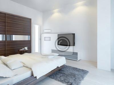 Schlafzimmer mit tv und eine medienkonsole. fototapete • fototapeten ...