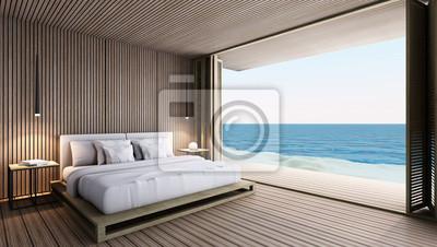 Fototapete: Schlafzimmer nehmen meerblick - 3d render