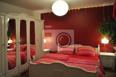Fototapete: Schlafzimmer rot weiß