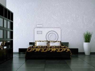 Schlafzimmer schwarz weiss leopardendecke fototapete • fototapeten ...