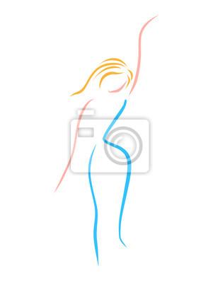 Fototapete: Schlanke süße dame, in mehreren linien gemalt