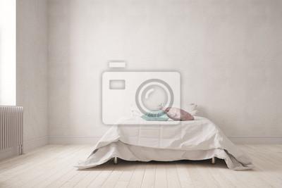 Schlichtes Schlafzimmer Mit Bett An Wand Fototapete Fototapeten