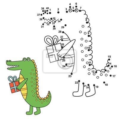 Schließen Sie die Punkte an, um das niedliche Alligator zu zeichnen und es zu färben. Bildungsnummern und Färbung Spiel für Kinder. Abbildung