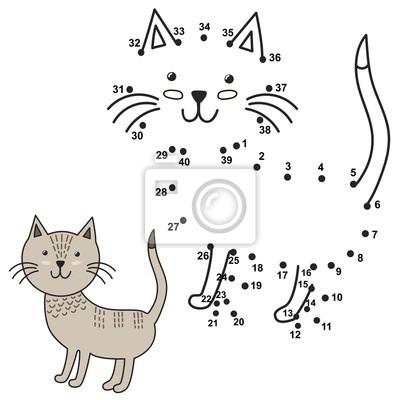 Schließen Sie die Punkte an, um die nette Katze zu zeichnen und sie zu färben