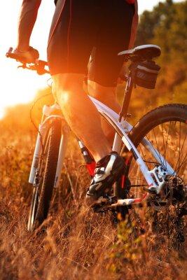 Fototapete Schließen Sie herauf Ansicht des Mannes spining Fahrradpedale