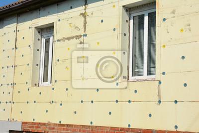 Schliessen Sie Oben Auf Aussen Haus Wand Isolierung Mit Styrofoam