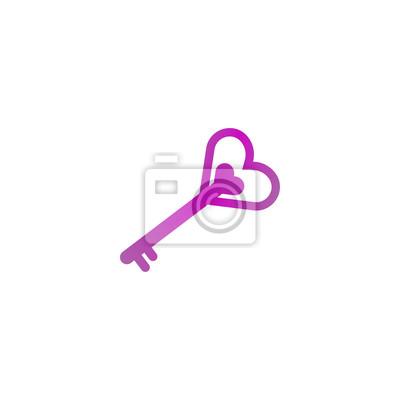 Schlüssel Herzform Logo Design Vorlage Fototapete Fototapeten