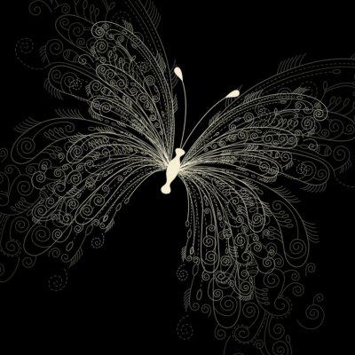 Fototapete Schmetterling auf schwarzem Hintergrund