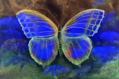 Fototapete Schmetterling in einer Phantasiewelt. Die Abtupftechnik ergibt einen weichen Fokuseffekt aufgrund der veränderten Oberflächenrauhigkeit des Papiers.