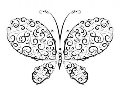 Fototapete Schmetterling Silhouette Ornament Design für Sie