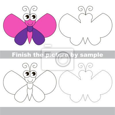 Schmetterling. zeichnung arbeitsblatt. fototapete • fototapeten ...