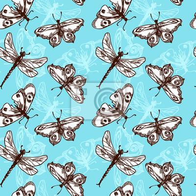 Schmetterlinge und Libellen nahtlose Muster