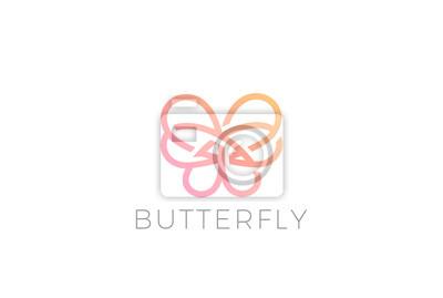 Schmetterlings-logo-entwurfsvektor-schablone linearer art fototapete ...